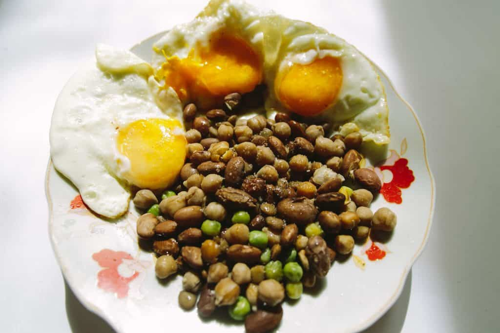 eggs with chickpeas and beans